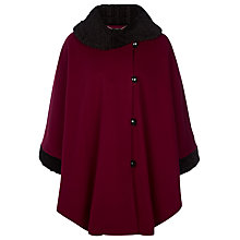 Buy Jacques Vert Faux Fur Astrakhan Trim Cape, Red Online at johnlewis.com
