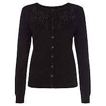 Buy Kaliko Cut Out Flower Detail Cardigan, Black Online at johnlewis.com
