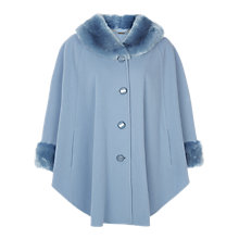 Buy Jacques Vert Faux Fur Trim Cape, Powder Blue Online at johnlewis.com