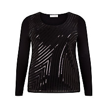 Buy Windsmoor Sequin Jersey Top, Black Online at johnlewis.com