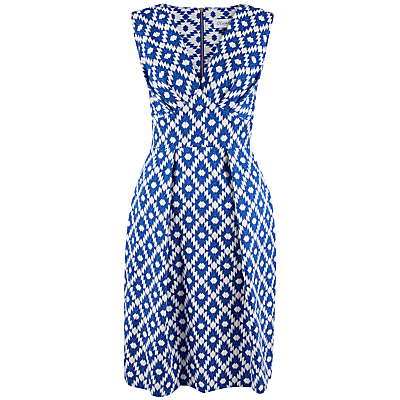 Closet Asymmetric Printed Dress, Blue