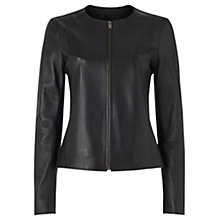 Buy Jigsaw Clean Leather Jacket, Black Online at johnlewis.com