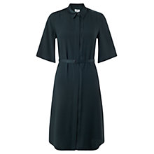 Buy Jigsaw Satin Back Placket Dress, Deep Teal Online at johnlewis.com