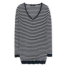 Buy Mango Striped Ribbed Sweater, Black Online at johnlewis.com