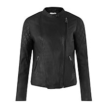 Buy Jigsaw Quilted Washed Biker Jacket, Black Online at johnlewis.com