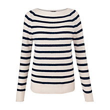 Buy Jigsaw Cashmere Edie Stripe Sweater, Ivory/Blue Online at johnlewis.com