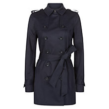 Buy Hobbs Sara Double Breasted Mac, Navy Online at johnlewis.com