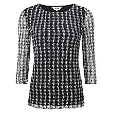 Buy Phase Eight Dogtooth Lace Top, Black/Ivory Online at johnlewis.com