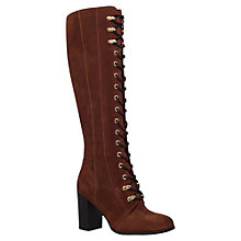 Buy Carvela Wander Lace Front Block Heeled Over The Knee Boots, Rust Suede Online at johnlewis.com