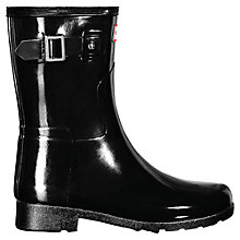 Buy Hunter Women's Original Short Refined Gloss Wellington Boots, Black Online at johnlewis.com