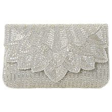 Buy Dune Eloise Petal Beaded Clutch Bag, Silver Online at johnlewis.com