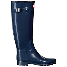 Buy Hunter Women's Original Refined Gloss Wellington Boots, Navy Online at johnlewis.com