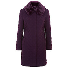 Buy Precis Petite Faux Fur Collar Quilted Coat, Dark Pink Online at johnlewis.com