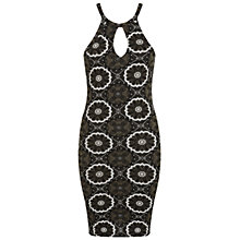 Buy Miss Selfridge Printed 90's Dress, Khaki Online at johnlewis.com