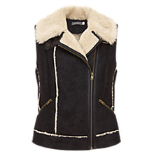 Buy Mint Velvet Faux Suede Gilet, Black/Cream Online at johnlewis.com