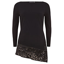 Buy Mint Velvet Asymmetric Silk Hem Jumper, Black Online at johnlewis.com