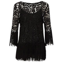 Buy Jacques Vert Tassel Lace Tunic Top, Black Online at johnlewis.com
