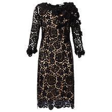 Buy Jacques Vert Floral Lace Dress, Black/Champagne Online at johnlewis.com