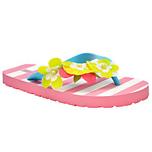 Buy John Lewis Children's Aloha Flower Trim Flip Flops, Pink Online at johnlewis.com