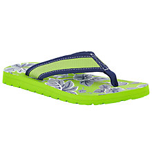 Buy John Lewis Children's Hawaiian Print Flip Flops, Green/Blue Online at johnlewis.com