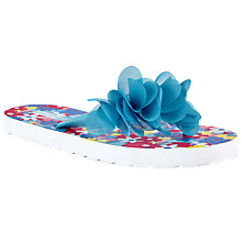 Buy John Lewis Children's Flower Print Flip Flops, Blue/Multi Online at johnlewis.com