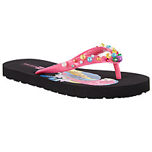 Buy John Lewis Children's Parrot Print Beaded Flip Flops, Black Online at johnlewis.com