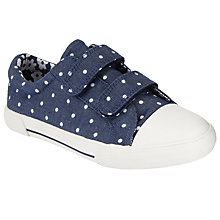 Buy John Lewis Children's Ellie Polka Dot Rip-Tape Trainers, Navy/White Online at johnlewis.com