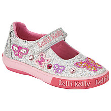 Buy Lelli Kelly Glitter Butterfly Rip-Tape Dolly Shoes, Silver Online at johnlewis.com