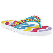 Buy John Lewis Children's Chevron Plaited Flip Flops, Pink/Multi Online at johnlewis.com