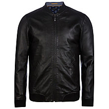 Buy Ted Baker Ovid Leather Bomber Jacket, Black Online at johnlewis.com