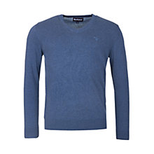 Buy Barbour Pima V Neck Jumper, Dark Chambray Online at johnlewis.com