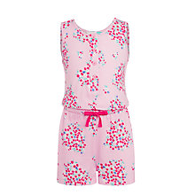 Buy John Lewis Floral Girls' Short Onesie, Pink Online at johnlewis.com