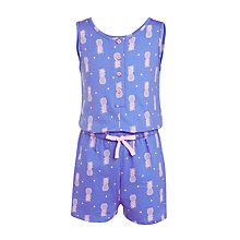 Buy John Lewis Girls' Pineapple Shorts Onesie, Navy Online at johnlewis.com