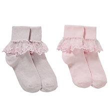 Buy John Lewis Girls' Bridal Floral Lace Socks, Pack of 2, Pink Online at johnlewis.com