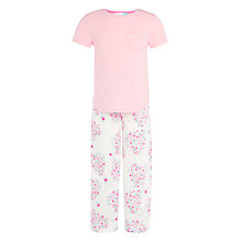 Buy John Lewis Girls' Floral Heart Pyjamas, Pink/White Online at johnlewis.com