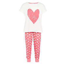 Buy John Lewis Girls' Heart Pyjamas, Red/White Online at johnlewis.com