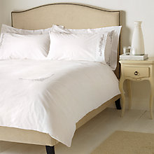 Buy John Lewis Valencia Hand Embroidered Bedding, White/Grey Online at johnlewis.com