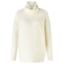 Buy Jigsaw Aran Cable Knit Jumper, Ivory Online at johnlewis.com