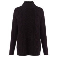 Buy Jigsaw Aran Cable Knit Jumper, Black Online at johnlewis.com