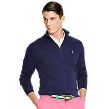 Buy Polo Golf by Ralph Lauren Pima Cotton Half Zip Jumper, French Navy Online at johnlewis.com