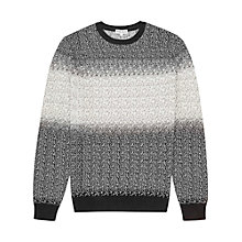 Buy Reiss Baxter Contrast Weave Merino Wool Jumper, Black Online at johnlewis.com