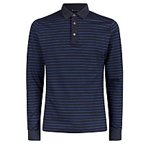 Buy Aquascutum Wharf Stripe Long Sleeve Polo Shirt, Navy Online at johnlewis.com