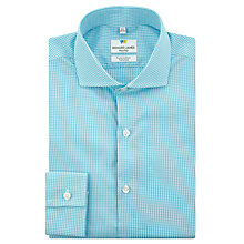Buy Richard James Mayfair Shadow Gingham Tailored Fit Shirt, Aqua Online at johnlewis.com