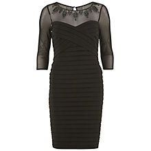 Buy Gina Bacconi Banded Dress With Beaded Sheer Yoke, Black Online at johnlewis.com