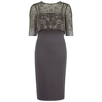 Gina Bacconi Ponti Dress With Matt Beaded Top, Pewter
