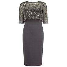 Buy Gina Bacconi Ponti Dress With Matt Beaded Top, Pewter Online at johnlewis.com