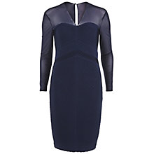 Buy Gina Bacconi Jersey Pintuck Dress With Mesh Yoke, Spring Navy Online at johnlewis.com