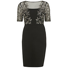 Buy Gina Bacconi Ponti Dress With Beaded Front Bodice, Black/Silver Online at johnlewis.com