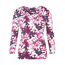 Buy Viyella Leaf Print Jersey Top, Grape Online at johnlewis.com