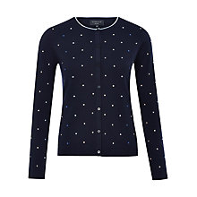 Buy Viyella Petite Spot Wool Cardigan, Navy Online at johnlewis.com